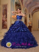 Havana Cuba Organza and Taffeta With Beading Brand New Blue Sweet sixteen Dress For 2013 Style QDZY330FOR