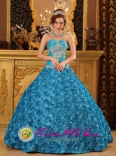 Havana Cuba Teal Sweetheart Rolling Flowers Sweet sixteen Dress For 2013 Appliques Ball Gown Style QDZY002FOR