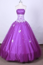 Informal Ball Gown Strapless FLoor-Length Purple Beading And Appliques Quinceanera Dresses Style FA-S-067