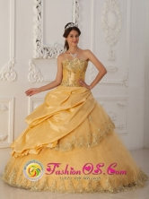 Las Tunas Cuba2013 Gold Sweet sixteena Dress Lace Floor-length Taffeta and Tulle Ball Gown Style QDZY187FOR