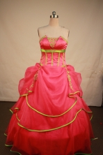 Lovely Ball Gown Strapless Floor-Length Hot Pink Appliques Quinceanera Dresses Style FA-S-191