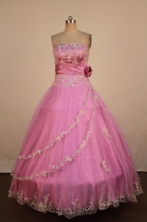 Luxurious Ball Gown Halter Top Neck Floor-Length Pink Beading Quinceanera Dresses Style FA-S-285