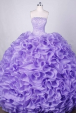 Luxurious Ball Gown Strapless FLoor-Length Orangza Lilac Beading Quinceanera Dresses Style FA-S-040