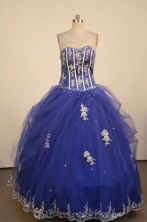 Luxurious Ball Gown Sweetheart Neck Floor-Lengtrh Blue Appliques Quinceanera Dresses Style FA-S-187