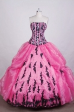 Luxurious Ball gown Strapless Floor-length Quinceanera Dresses Appliques with Beading Style FA-Z-0053