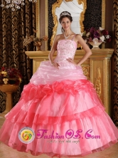 Machala  Ecuador 2013 Customer Made One Shoulder Romantic sweet sixteen Dress Appliques with Beading Organza Ball Gown Style QDZY345FOR