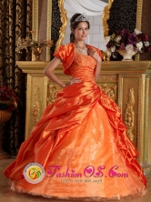 Machala  Ecuador Sweetheart Taffeta Appliques and Beading Decorate Orange sweet sixteen Dress with Pick-ups Style QDML069FOR