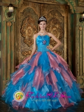 Manzanillo Cuba Beading and Ruffles Decorate Bodice Sky Blue and Watermelon Red For 2013 sweet sixteen  Dress Strapless Organza Style QDZY242FOR