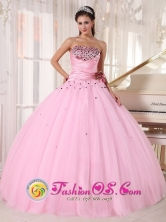 Matanzas Cuba Custom Made Pink sweet sixteen Tulle Dress with Beaded and Ruched Bodice Taffeta and With Hand Made Flowers Style PDZY737FOR