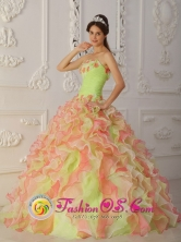 Mayari Cuba Strapless Ruffles Layered and Ruched Bodice sweet sixteen Dress With Hand Made Flowers for 2013 Style QDZY004FOR