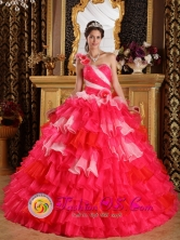 Moa Cuba Beautiful One Shoulder Colorful Hand Made Flowers Decorate and Ruffles Layered For Ball Gown For 2013 Spring sweet sixteen Style QDZY239FOR