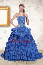 Modern Royal Blue Appliques and Pick Ups Quinceanera Dresses with Brush Train XFNAO6050FOR