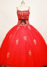 Modest Ball Gown Strap Floor-length Tulle Red Quinceanera Dresses Style FA-C-023