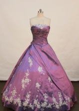 Modest Ball gown Strapless Floor-length Quinceanera Dresses Appliques Style FA-Z-0079