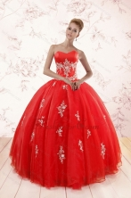 Most Popular Red Puffy Quinceanera Dresses with Appliques XFNAOA38FOR