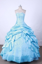 New Arrival Ball Gown Strapless FLoor-Length Baby Blue Appliques And Beading Quinceanera Dresses Style FA-S-117