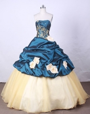 New Arrival Ball Gown Strapless FLoor-Length Blue Appliques And Beading Quinceanera Dresses Style FA-S-116