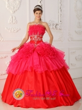 Nueva Gerona Cuba Strapless Red Appliques Decorate Waist For 2013 Sweet sixteen Dress Style QDZY325FOR