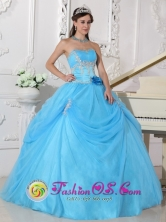 Nuevitas Cuba Fashionable Aqua Blue Sweet sixteen Ball Gown Dress With Strapless Neckline Flowers Decorate On Organza Style QDZY556FOR