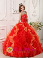 Nuevitas Cuba Red Sweet sixteen Dress For 2013 Appliques and Beading Sweetheart Organza Ball Gown Style QDZY012FOR