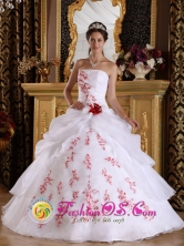 Palma Soriano Cuba Wonderful White Princess Sweet sixteen Dress With Appliques And Hand Made Flower Style QDZY190FOR