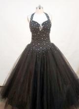Perfect A-line Halter top Floor-length Beading Sequins Quinceanera Dresses FA-Z-128