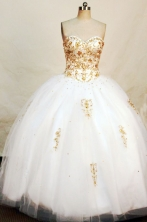 Perfect Ball Gown Sweetheart Neck Floor-lengthTulle White Quinceanera Dresses Style FA-C-014