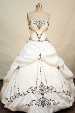 Perfect ball gown sweetheart-neck floor-length embroidery with black taffeta quinceanera dresses FA-X-025