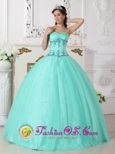 Pinar del Rio Cuba Fall Elegant Sweet sixteen Dress For Sweet sixteen With Turquoise Sweetheart Neckline And EXquisite Appliques Style QDZY590FOR