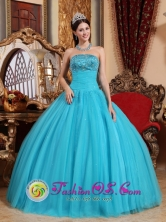Pinar del Rio Cuba Spring Embroidery with Exquisite Beadings Popular Turquoise Sweet sixteen Dress Strapless Tulle Ball Gown Style QDZY592FOR
