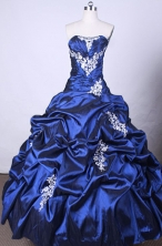 Popular Ball Gown Strapless FLoor-Length Blue Beading And Appliques Quinceanera Dresses Style FA-S-103