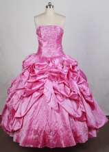 Popular Ball Gown Strapless Floor-length Pink Quinceanera Dress Y042649