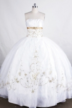 Pretty Ball gown Strapless Floor-length Embroidery with Beading Quinceanera Dresses Style  FA-Z-002