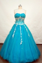 Pretty ball gown sweetheart-neck floor-length teal quinceanera dress FA-X-033