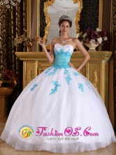 Cienfuegos Cuba  White and BlueSweet sixteen Dress For 2013 With Sweetheart Appliques Organza Ball Gown Style QDZY588FOR