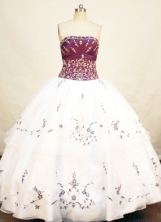 Romantic Ball Gown Strapless Floor-length Organza White Embroidery Quinceanera Dresses Style FA-C-009