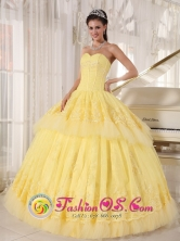 Santo Domingo  Ecuador 2013 Organza and Tulle Light Yellow Sweetheart Lace Decorate Luxurious floor length Sweet sixteen Dress Style  PDZY495FOR