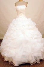 Simpel Ball Gown Strapless FLoor-Length Organza white Appliques Quinceanera Dresses Style FA-S-084