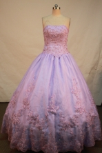 Sweet A-line Strapless Floor-length Quinceanera Dresses Appliques Style FA-Y-0027