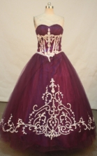Sweet A-line Sweetheart Floor-length   Quinceanera Dresses Appliques with   Beading Style FA-Y-0075