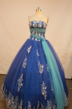 Sweet Ball Gown Strapless Floor-Length Blue Beading and Applqiues Quinceanera Dresses Style FA-S-149