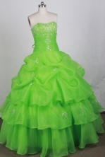 Sweet Ball Gown Strapless Floor-length Spring Green Quincenera Dresses TD260065