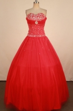 Sweet Ball Gown Sweetheart Neck Floor-Length Hot pink Beading Quinceanera Dresses Style FA-S-224
