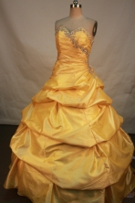 Sweet Ball Gown Sweetheart Neck   Floor-Length Yellow Beading   Quinceanera Dresses Style FA-S-169