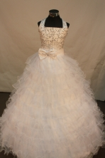 Sweet Ball gown Halter top Floor-length Quinceanera Dresses  Beading Style FA-Y-0030