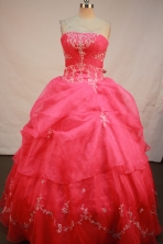 Sweet Ball gown StraplessFloor-length Quinceanera Dresses Embroidery with Beading Style FA-Y-0065