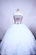 Sweet ball gown strapless floor-length embroidery with burgundy quinceanera dress FA-X-045