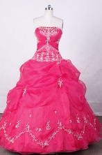 Swwet Ball Gown Strapless FLoor-Length Hot Pink Appliques And Beading Quinceanera Dresses Style FA-S-125