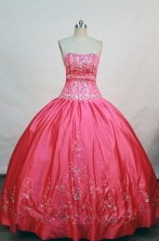 The most Popular ball gown strapless floor-length coral red taffeta appliques quinceanera desses FA-X-056