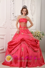 Trinidad Cuba Customer Made Stylish Strapless Watermelon Red Beading and Appliques sweet sixteen  Dress Party Style For 2013 Style QDZY025-2FOR